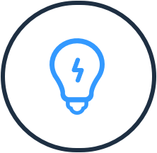 icon of lightbulb with lightning bolt in it